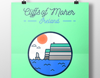 Irish Illustrations - Cliffs of Moher