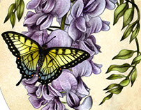 Wisteria & Tiger Swallowtails