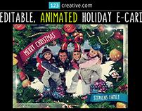 Animated Christmas Card Template GIF - falling snow