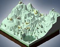 Village Isometric Ice age