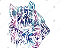 white background tiribal tattoo tiger illustration