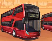 Hybrid double-decker city bus