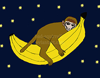 Baby monkey riding on a banana through space