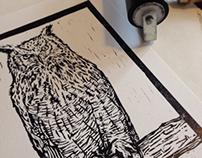 Eagle Owl Linocut