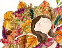 Autumn girl - watercolor illustration