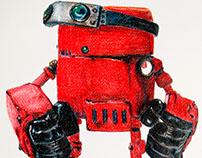 Ilustración Robot, pintado con lapices de colores