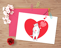 Valentine cat with red flower like a heart.