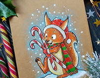 Forest Friends. Christmas postcards.