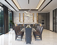 Diningroom with marble accents. From California project