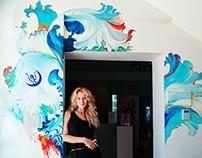 """Sea plants"" Dance Studio Moon wall painting"