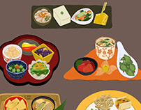 Plates and utensils for Japanese cuisine.