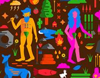 Animals,People,Nature: Vector Illustration