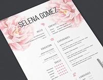 Elegant floral CV and Cover Letter template