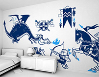 knights vs dragon :: children's wall decals