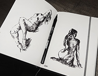 black white sketches figure studying with details