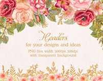 FREE Watercolor Glitter Floral Headers