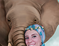 "Self-Portraits with my elephant :""))"