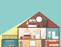Cut in house interiors. Vector