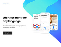 """A landing page for """"Translate Now"""" App"""
