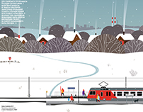 Suburban trains, illustration for Ъ Business Guide
