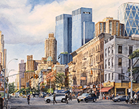 Ninth Avenue, New York City - Watercolor