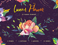 Lunar Flower Watercolor Graphic Kit