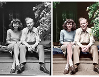 Colorisation of a photograph of a couple (c 1940)