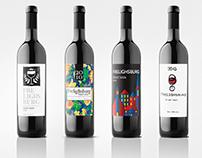 Étiquettes de bouteilles de vin