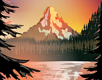 Mountain Range Sunset Scene - Flat Design