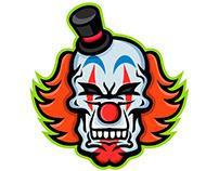 Whiteface Clown Skull Mascot