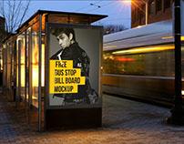 Free Bus Stop Advertising Billboard Mockup