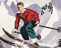 Vintage Travel Poster Skiing in Chamonix France