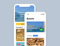iOS app Quests in city, UI design (iPhone X)