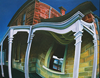 Oil painting of surreal distorted historical building