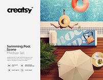 Swimming Pool Scene Mockup Set