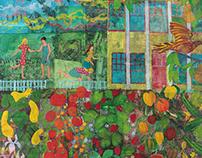 "Garden, acrylic on collage, 36""x48"""