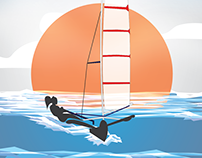 Sailboat - Orange Sunset - Retro - Vintage colors