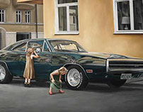 Love muscle cars – oil on canvas.