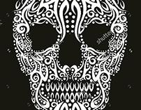 tattoo tribal skull graphic design vector art