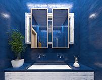 #microcret #bathroom #blue #lightgreywood