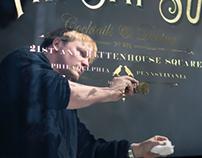 23k gold reverse gold window lettering for Fri Sat Sun