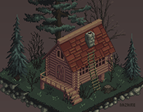 Forest cabin pixel art