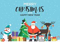 Modern Flat creative Christmas greeting card