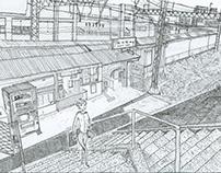 赤い屋根の駅