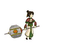 Pixel female warrior