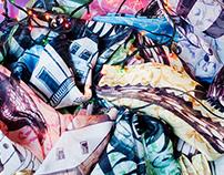 Dragon. Printed scarves.