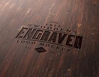 Free Wood Engraved Logo Mockup PSD
