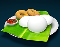 3D Model - South Indian delicacy: Idli, Vada & Chutney