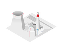 Vector isometric illustration of a nuclear power plant