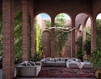 Boho style living space visualization